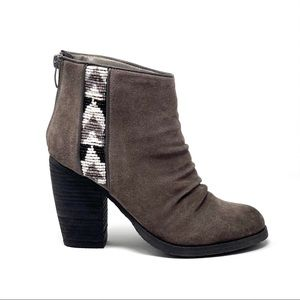 Sbicca Aztec Beaded Suede Taupe Ankle Bootie 8